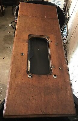 1897 SINGER TREADLE SEWING MACHINE OAK CABINET TOP with HINGES and HARDWARE, VGC
