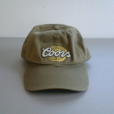Coors Beer Raised Script Olive Green Baseball Cap Adjustable Hat 100% Cotton
