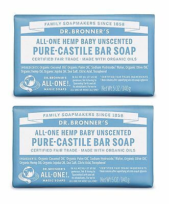 DR BRONNERS MAGIC FAIRTRADE PURE BABY MILD CASTILE SOAP 2x140g - UNSCENTED