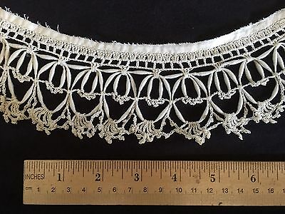 54 inches Antique Crocheted Lace Trim w/ CORONATION BRAID, Novelty Edging OLD