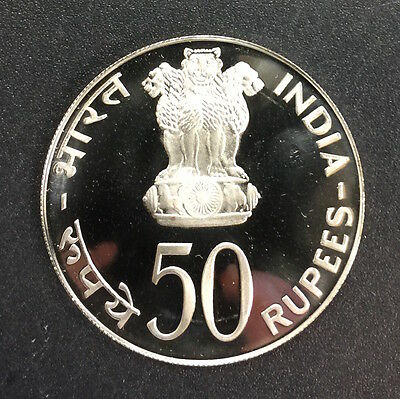 India 1974 50 Rupees Proof Silver Coin (#1074) Food for All. Carefully Check