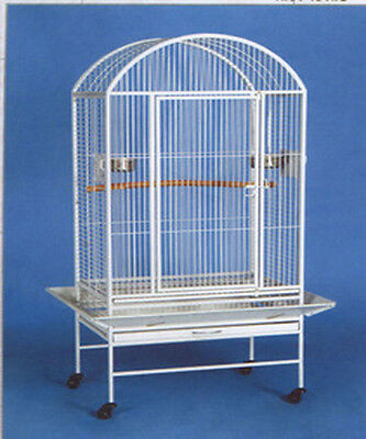 Large Dome Top Wrought Iron Bird Parrot Macaw Cage White Vein NEW 14 -597