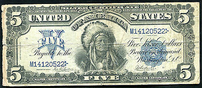 """Fr. 277 1899 $5 Five Dollars """"Chief"""" Silver Certificate Very Fine"""