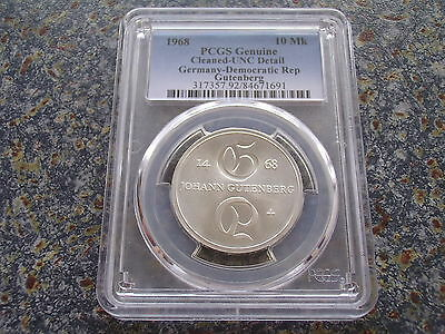 Germany GDR 10 Mark silver 1968 Gutenberg Inventor of the book pressure PCGS UNC