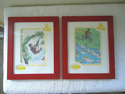 Vintage ? Set Of 2 Curious George Wooden Framed Wall Hanging Pictures