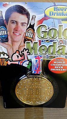 Beer drinker medal. Fun gold medal. Stag night, party etc. Union jack ribbon.