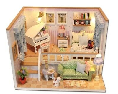 Doll House Miniature DIY Piano Split Level Bedroom With Furniture 1:24 scale