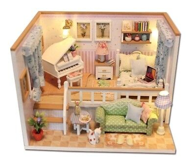 Dolls House DIY Piano Split Level Bedroom With Furniture 1:24 scale