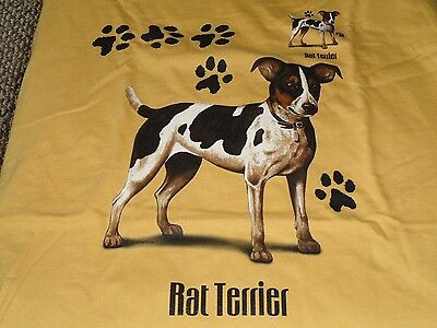 Rat Terrier Tee Brown Size Large 100% Cotton
