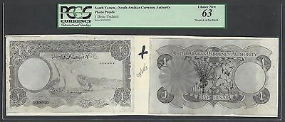Yemen South Arabia  One Dinars Undated Unlisted Photograph Proof Uncirculated