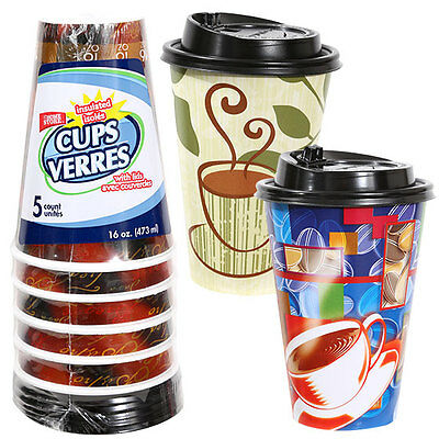 Case of 24 16-oz. Disposable Foam Coffee Cups with Lids, 5-ct. Packs(120)