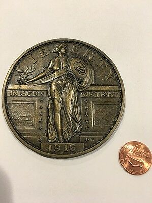 Vintage Novelty Coin Coaster 1916 Quarter Dollar
