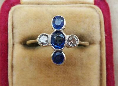 Big beautiful art deco 18ct and white gold antique sapphire and diamond ring