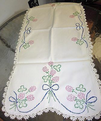 "vintage hand stitched 34"" table runner clover & pink flowers"