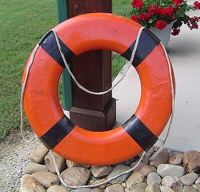 Vintage Orange Ship's Life Preserver Ring - Authentic Nautical Decor Buoy