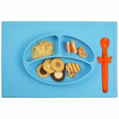 Silicone Baby Placemat + 3 Compartments Food Plate with Silicone Spoon Included