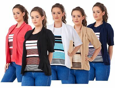 6e7c1f98ed Ladies New Twin Set Striped Short Sleeve Crew Neck Knitted Cardigan Jumpers  S-XL
