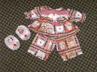 "NEW 16"" Girl Cabbage Patch Doll Clothes~3 pc CUPCAKES Pajamas & Slippers"