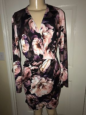81b9aa41487 Pre-Owned Missguided Woman s Harness Detail Floral Wrap Dress Multi-Color  Size 6