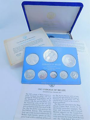 Complete 1983 8 Coin Belize Franklin Mint Sterling Silver Proof Set AA0597