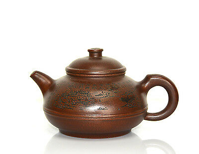 Fine Chinese Yixing Zisha Carved Landscape Ceramic Teapot with Seal Mark