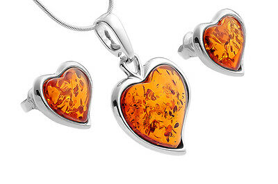 Sterling Silver & Baltic Amber Pendant Stud Earrings Hearts Set Jewellery +Chain