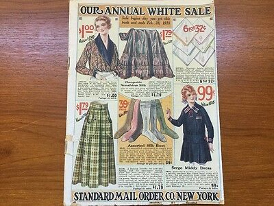 "Antique/VTG 1918 STANDARD MAIL ORDER CO.NEW YORK Catalog ""Our Annual White Sale"""