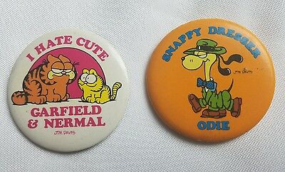Vtg Garfield Nermal and Odie Jim Davis Pin Buttons Set of 2