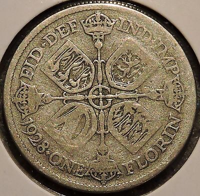 British Florin - 1928 - Big Silver Coin - $1 Unlimited Shipping