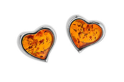 925 Sterling Silver Natural Baltic Amber Stud Earrings Hearts Jewellery Jewelry