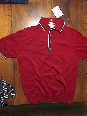 Men's 60-70s Red Pullover Rayon Sweater NWT by Countess Mara Sz L