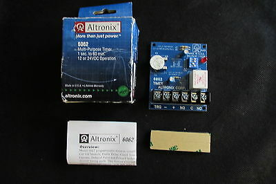 Altronix 6062 Multi Purpose Timer Module 12 - 24 VDC 8 AMP SPDT 60 Day Warranty