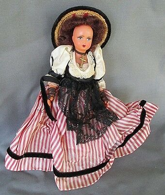 """RARE French 8"""" tall Celluloid doll in Original Clothes and Wig Cabinet Size"""