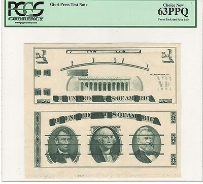 Giori Test Notes Uncut, Washington Center No S/n, Pcgs  63 Ppq Choice New