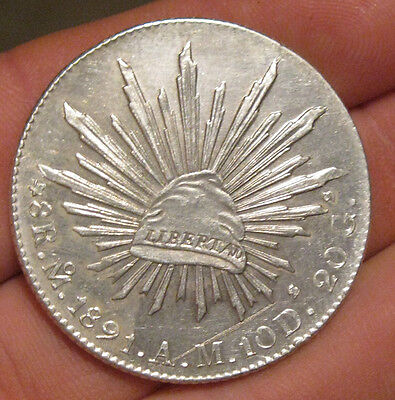 Mexico - 1891 MoAM Large Silver 8 Reales - Nice!