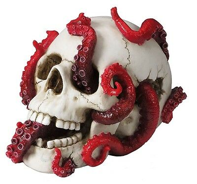 """7.75"""" Abyss Lurks Within Statue Octopus Within Skull Sculpture Figure Figurine"""