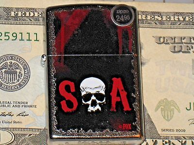 New Windproof Flame ZIPPO USA LIGHTER SOA Sons of Anarchy Skull Bluebush Pro Fox