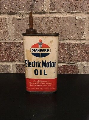 Vintage Standard Oil Electric Motor Oil Advertising Oil Can ~ Embossed Back