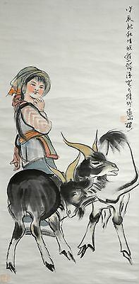Vintage Chinese Watercolor Ethnic Girl and Goat Wall Hanging Scroll Painting