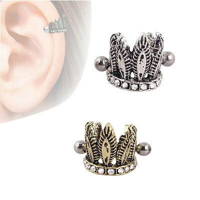 16G Antique Crown Crystal Ear Cartilage Tragus Helix Stud Earring Body Jewellery