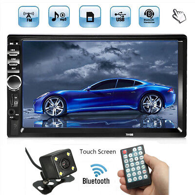 Double 2 Din 7'' Car Stereo Radio MP5 In Dash Bluetooth Player FM AUX USB+Camera