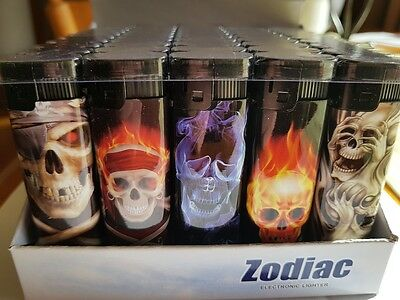 Zodiac by Zico wholesale lighters display of fifty  electronic skull collectable