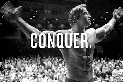 "CONQUER.Arnold Schwarzenegger bodybuilding Motivational poster silk 27x40""39x76"""