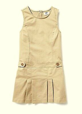 NWT Old Navy Girls' School Khaki Beige Uniform Jumper Dress Skirt Sz 14 Slim 14S