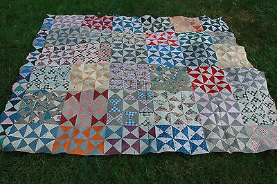 Great Vintage Patchwork Bow Tie Quilt Top with 1900s - 1930s Fabrics
