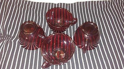 vintage Ruby Red glass set of 4 tea cups