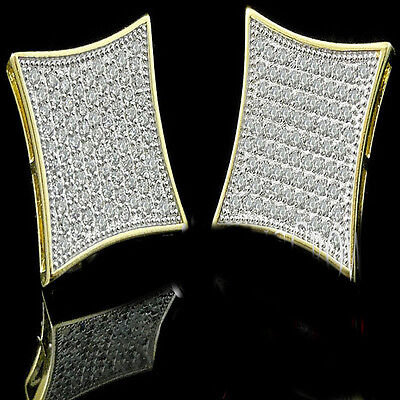 New Mens 14k Yellow Gold Finish Lab Diamond Kite Square Screw Back Stud Earrings