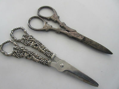 Lot Of 2 Vintage Silver Plated Grape Scissors
