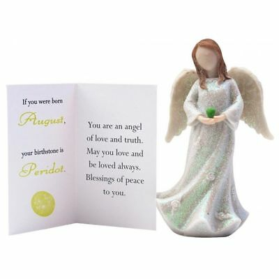 "Birthstone Angel - August Love & Truth, White with Green ""stone"""