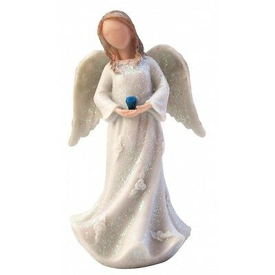 "Birthstone Angel - September Truth & Sincerity  White with Blue ""stone"""